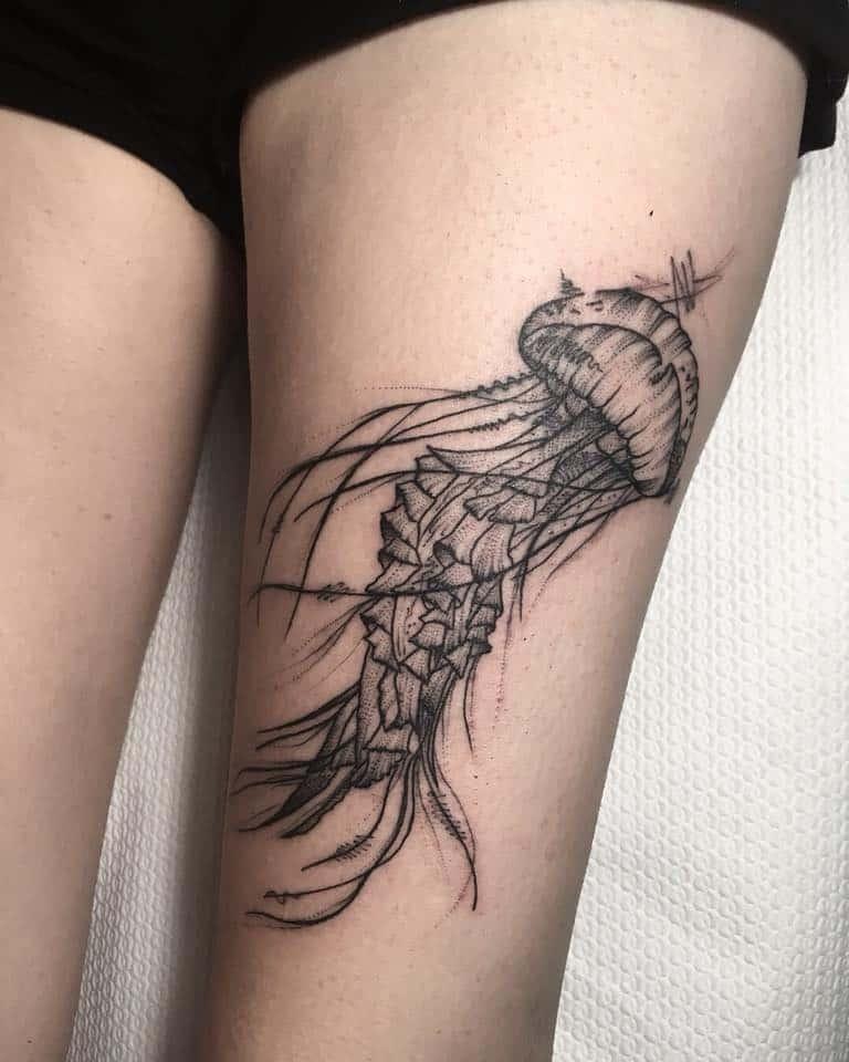 Sketchy Jellyfish Tattoo