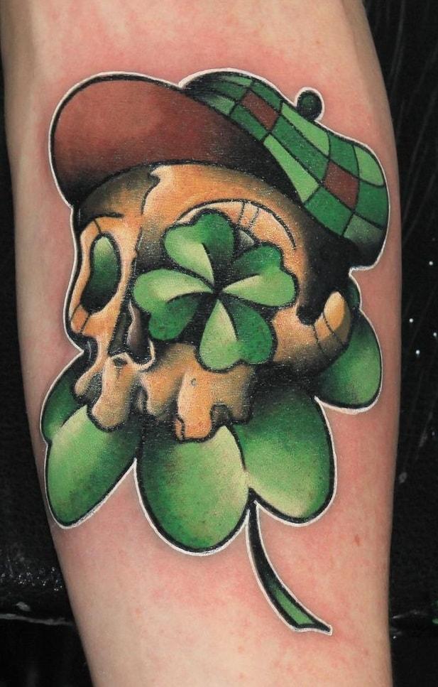 Skull Shamrock Tattoo