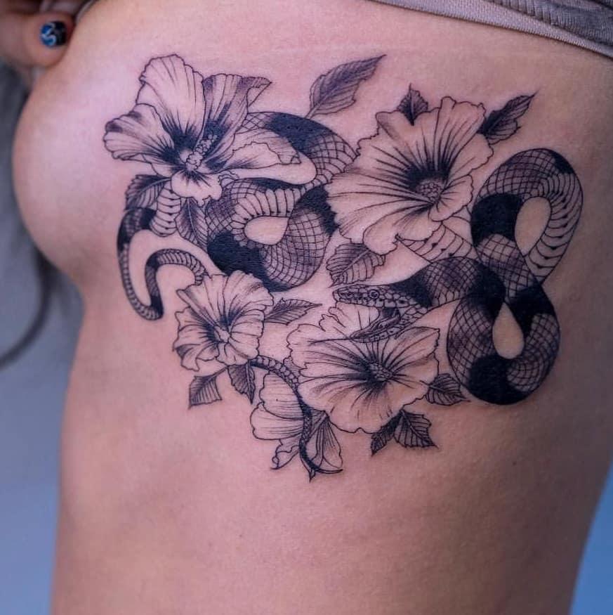 Snake and Hibiscus Tattoo