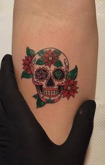 Flowers and Sugar Skull Tattoo