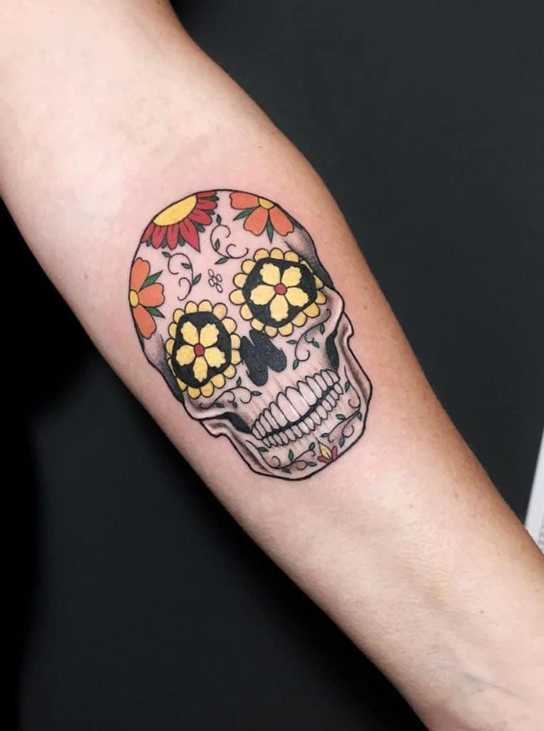 Sugar Skull Tattoo on Forearm