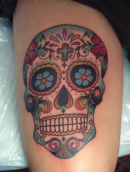 Sugar Skull Tattoo on Thigh