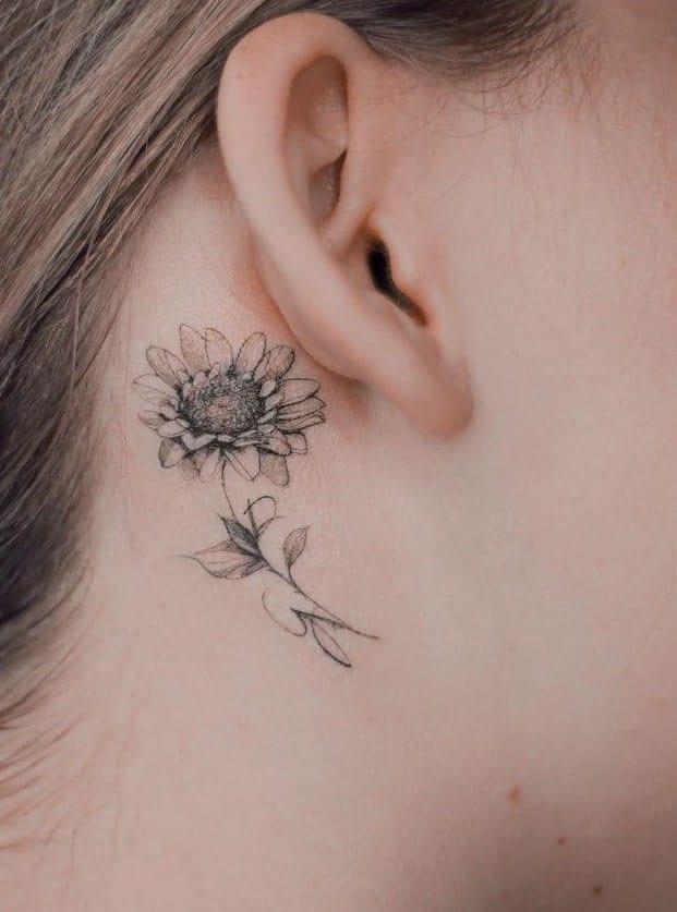 Sunflower Tattoo Behind the Ear