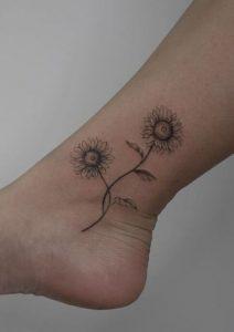 Sunflower Tattoo on Ankle