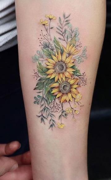 Sunflower Tattoo on Forearm
