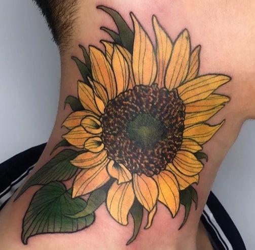 Sunflower Tattoo on Neck