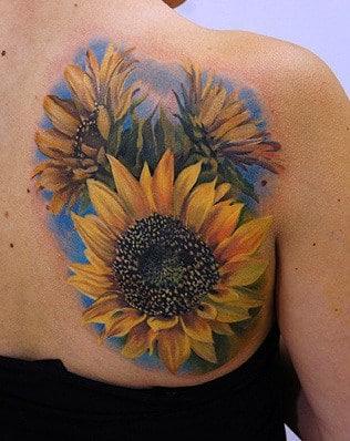 Sunflower Tattoo on Shoulder Blade