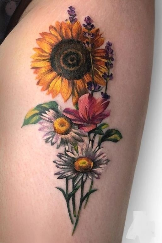 Sunflower Tattoo on Thigh