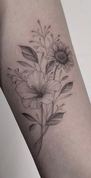 Sunflower and Hibiscus Tattoo