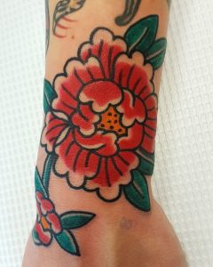Traditional Peony Tattoo