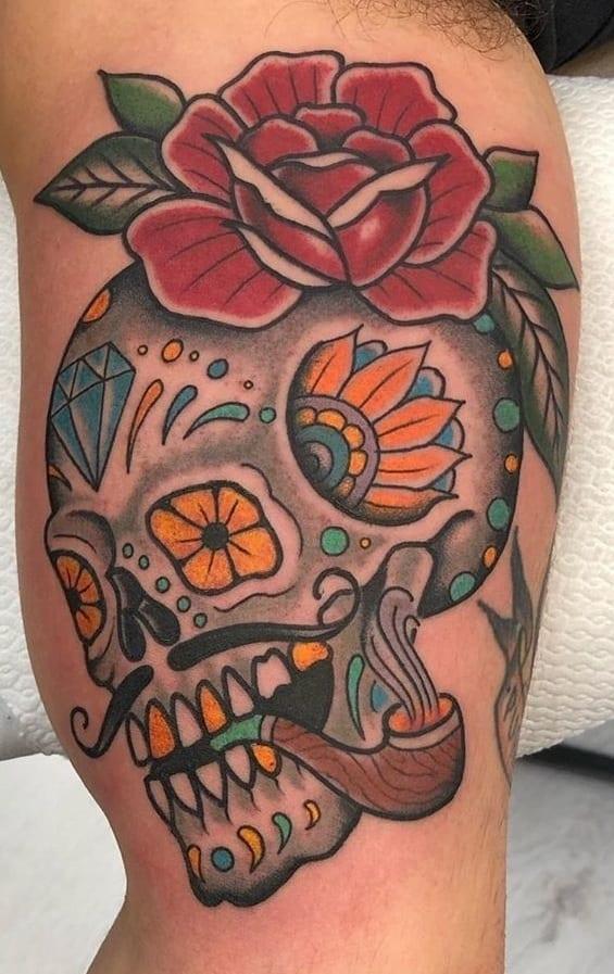 Traditional Sugar Skull Tattoo