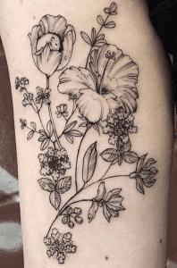 Tulip and Hibiscus Tattoo