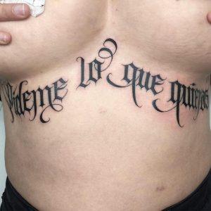 Under-breast Lettering Tattoo
