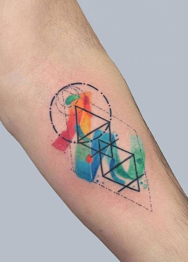 Watercolor Geometric Tattoo