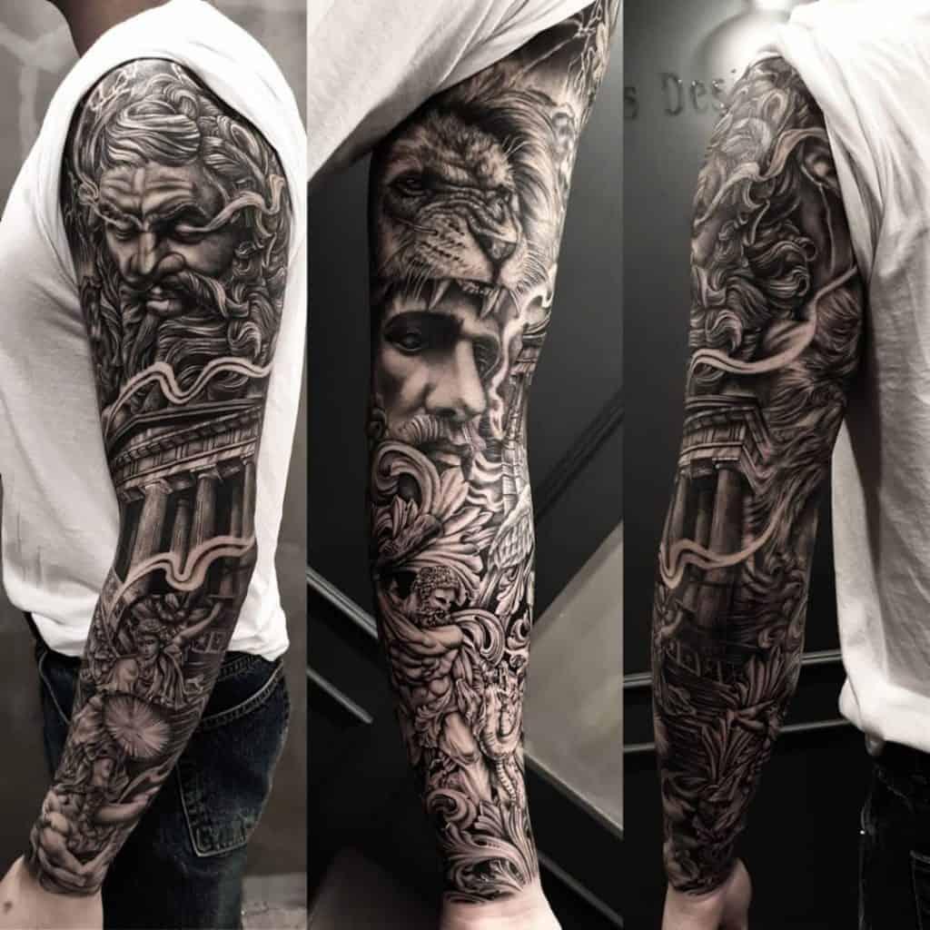 Zeus Tattoo Sleeve