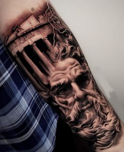 Zeus Tattoo on Forearm