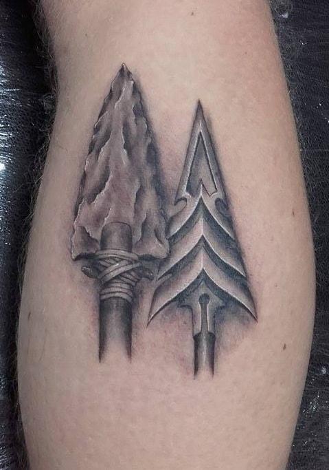 Black and Grey Arrowhead Tattoo