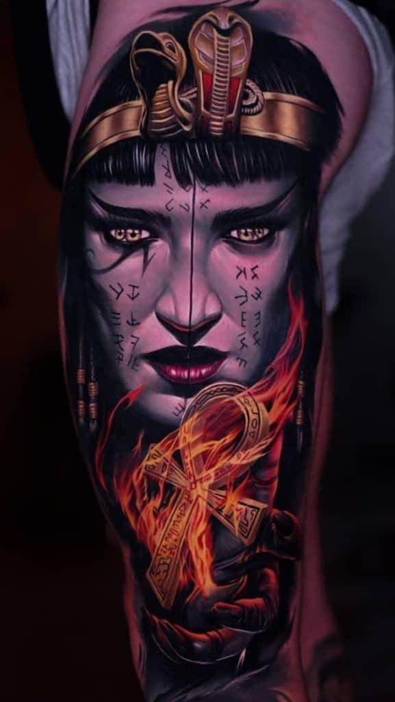 Realistic Cleopatra Tattoo