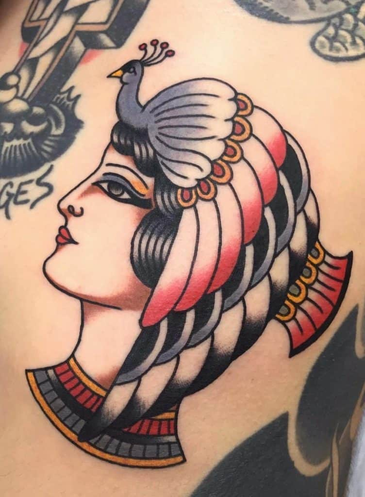 American Traditional Cleopatra Tattoo