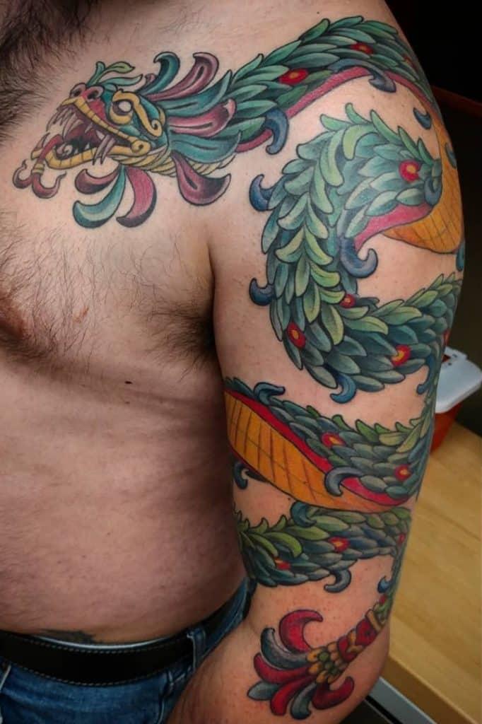 Colorful Quetzalcoatl Tattoo