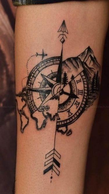 Compass with Arrow Tattoo