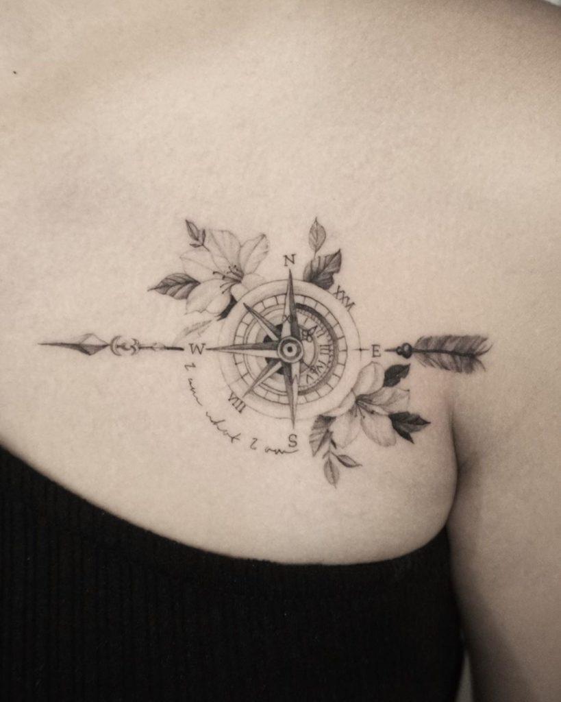 Feminine Compass with Arrow Tattoo