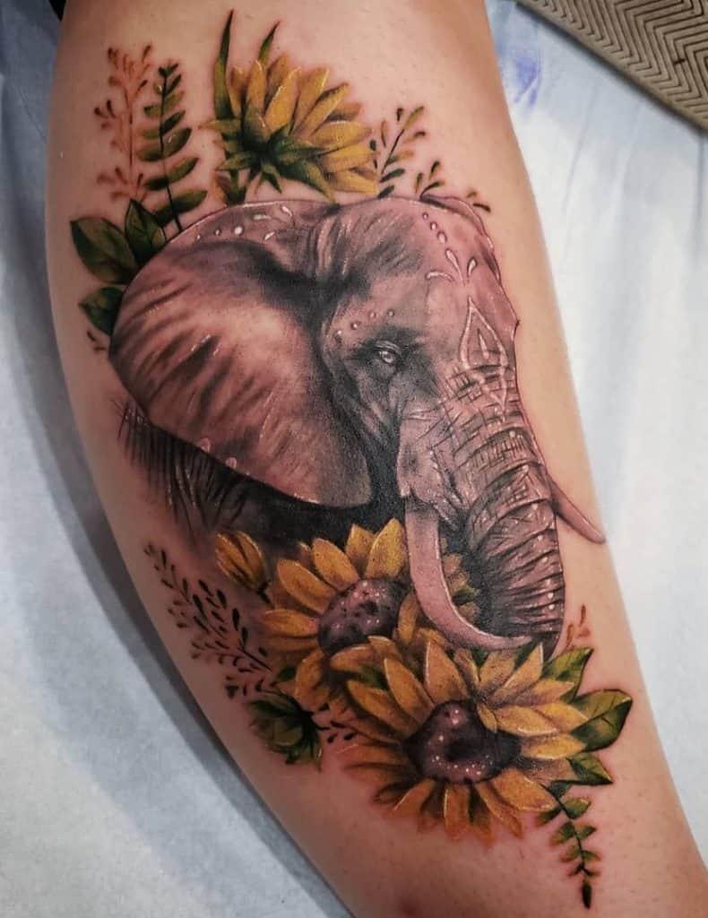 Elephant Head Tattoo with Flower