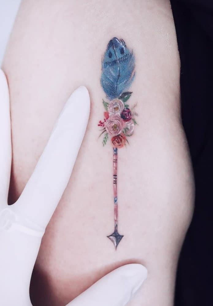 Flowers and Arrow Tattoo
