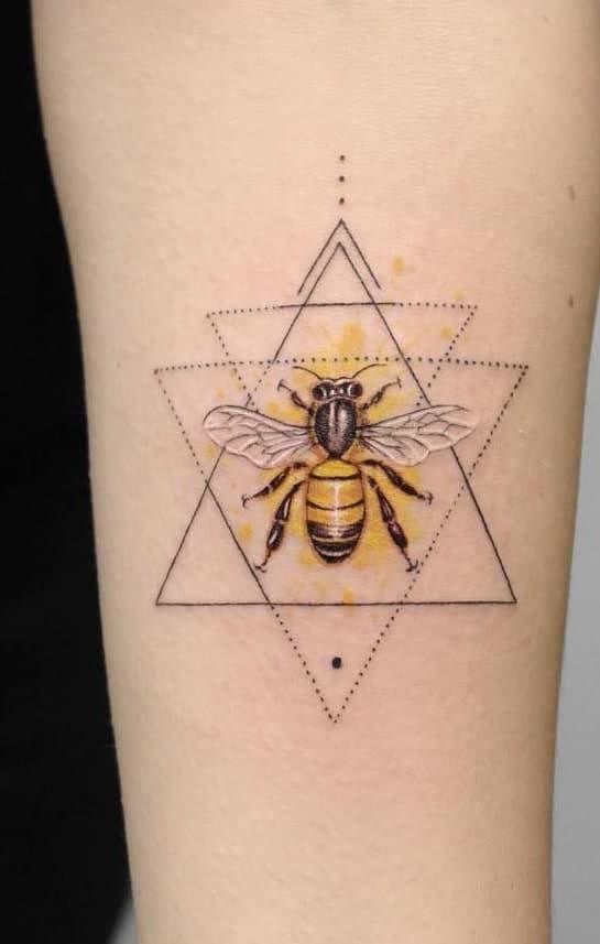 Geometric Bee Tattoo