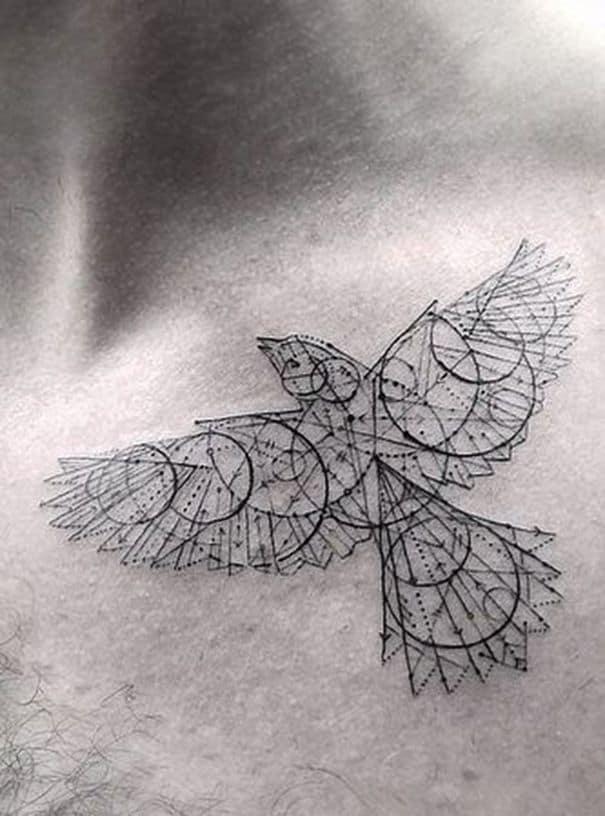 Geometric Crow Tattoo