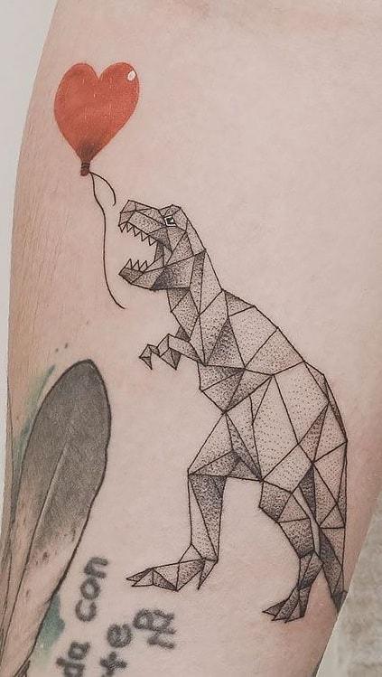 Geometric Dinosaur Tattoo
