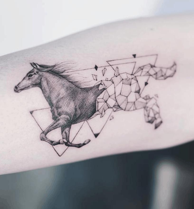 Geometric Horse Tattoo