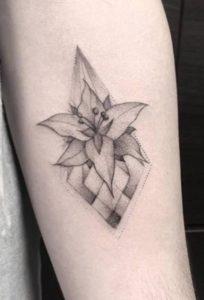 Geometric Lily Tattoo