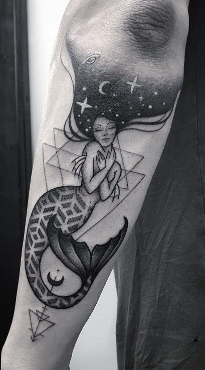 Geometric Mermaid Tattoo