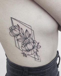 Geometric Peony Tattoo