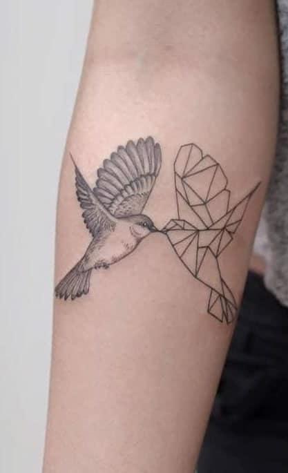 Geometric Sparrow Tattoo