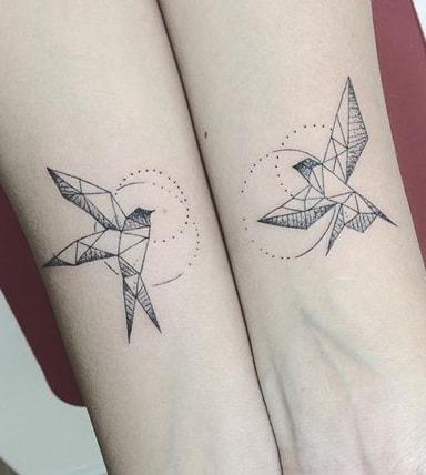 Geometric Swallow Tattoo