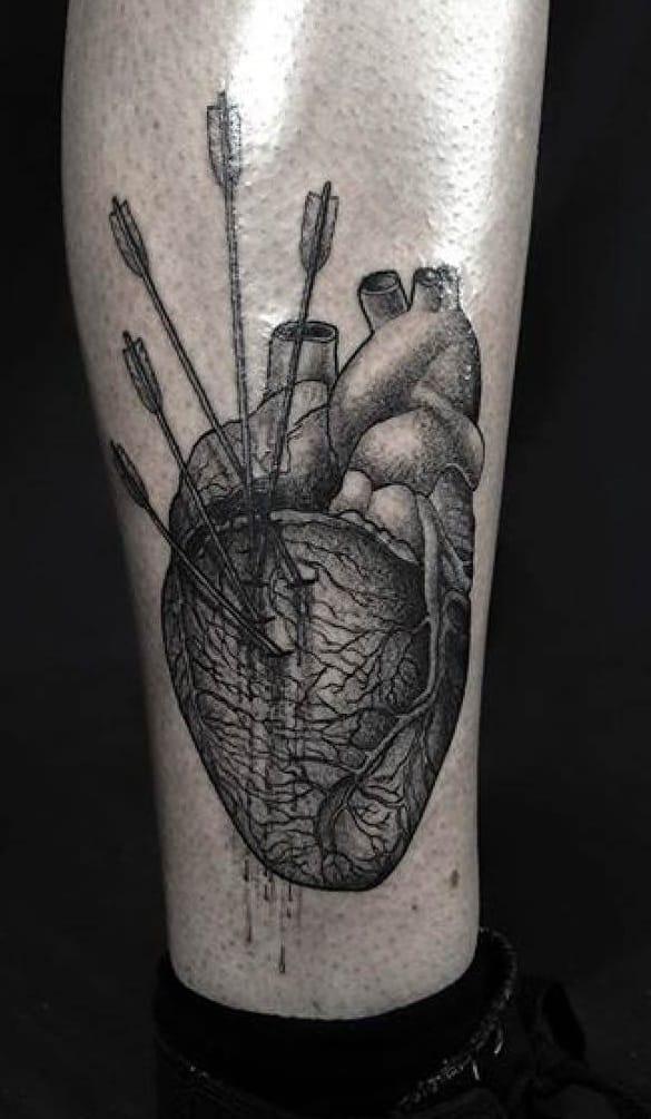 Anatomical Heart and Arrow Tattoo