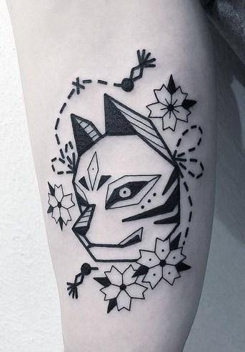 Black-work Kitsune Mask Tattoo