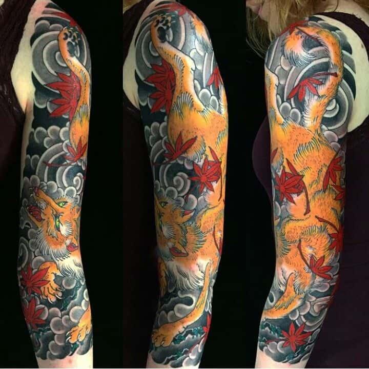 Kitsune Sleeve Tattoo