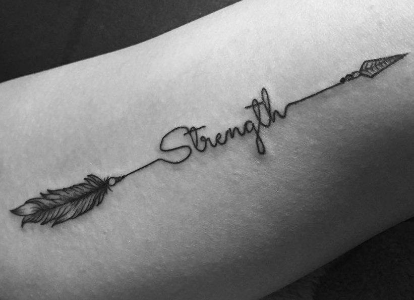 Lettering Arrow Tattoo