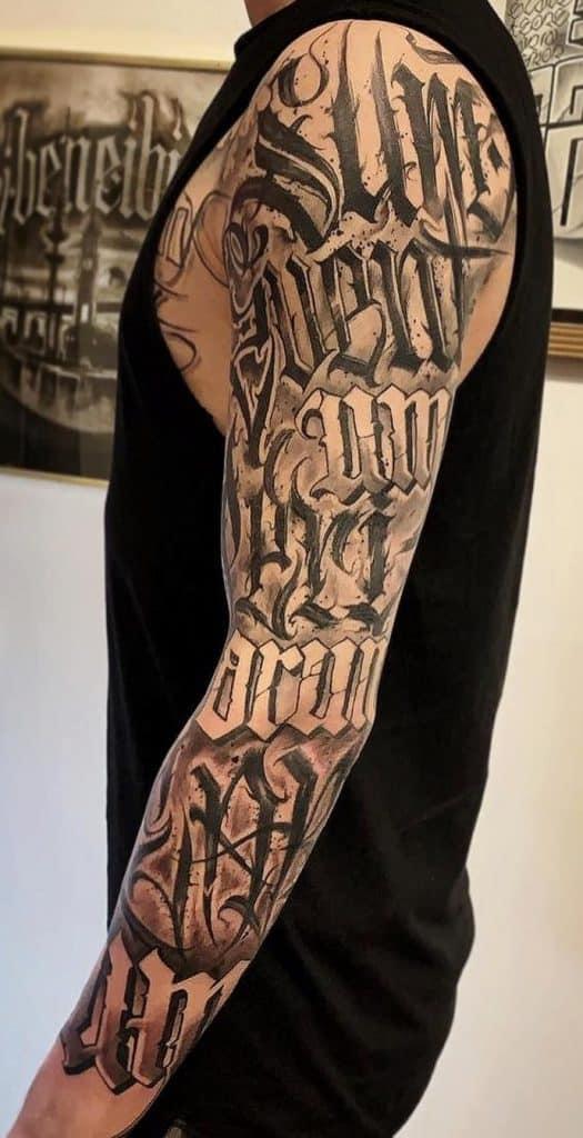 Lettering Tattoo Sleeve