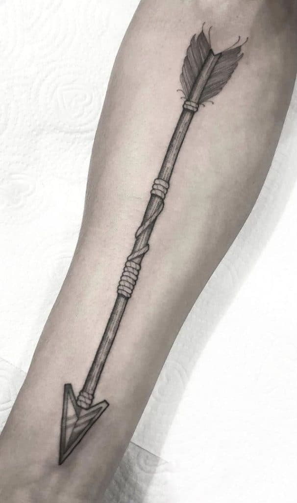 Black and Grey Native American Arrow Tattoo