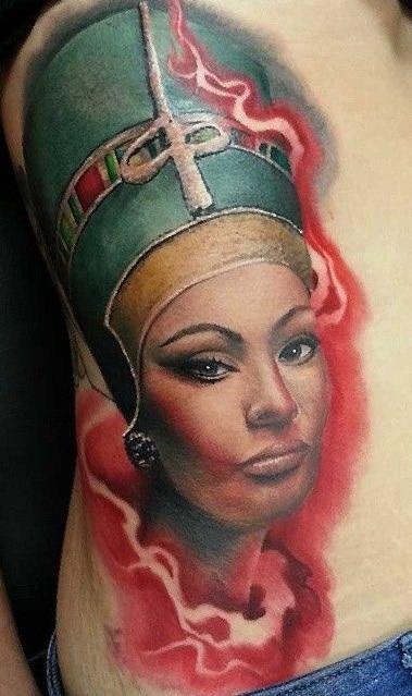 Realistic Nefertiti Tattoo
