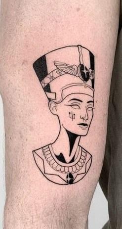 Black-work Nefertiti Tattoo