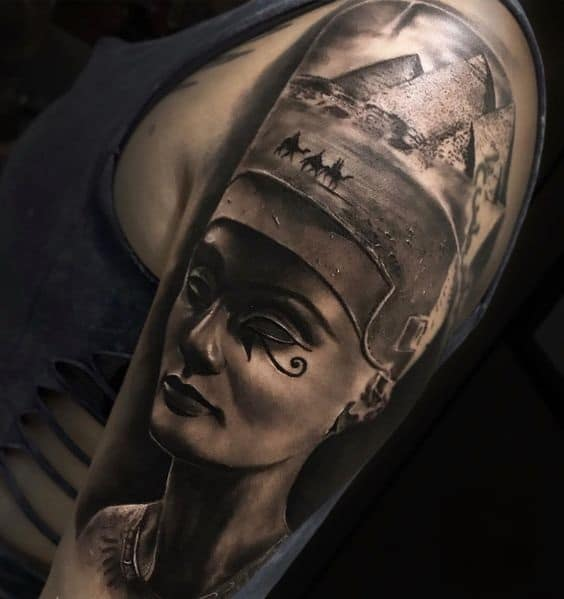 Nefertiti and pyramids tattoo