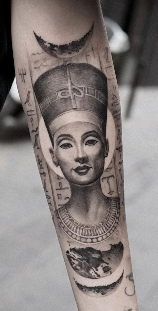 Nefertiti tattoo on forearm