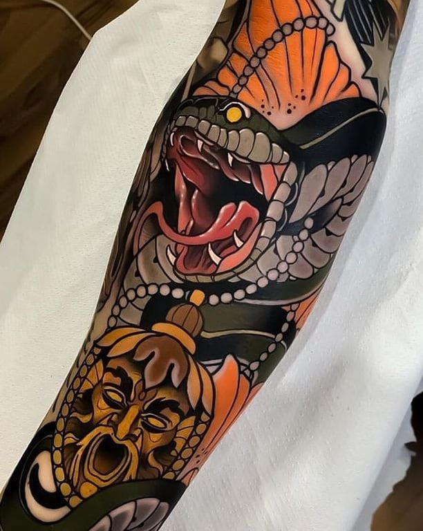 Neo-traditional Snake Tattoo