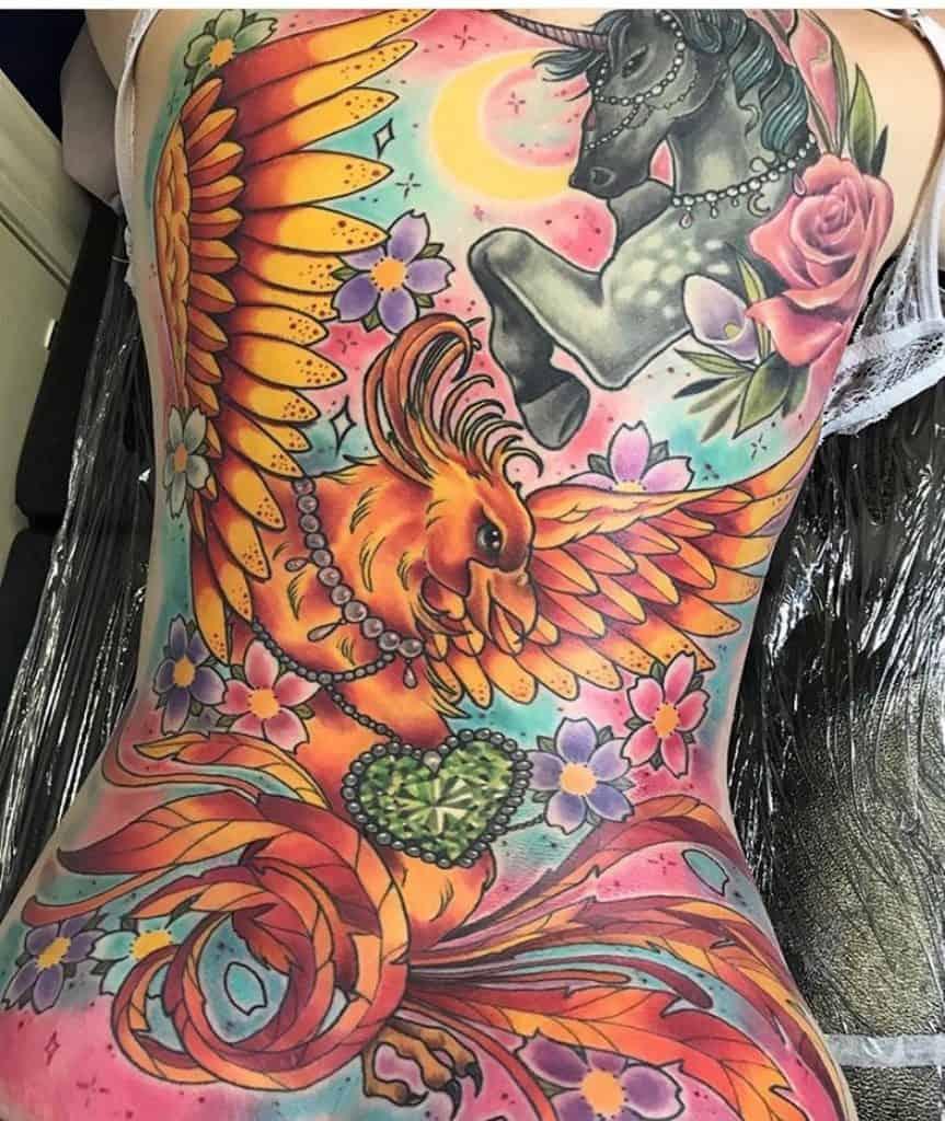 Phoenix Tattoo on Back