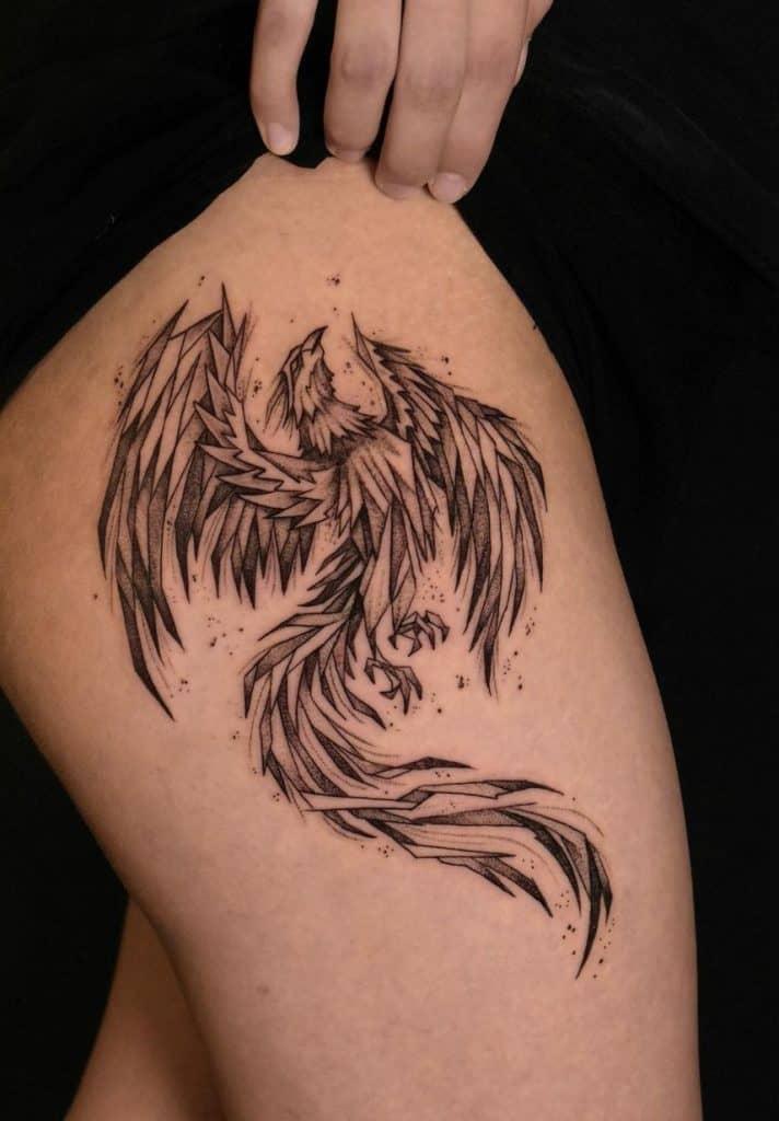 Phoenix Tattoo on Thigh